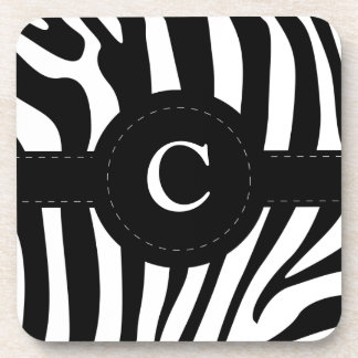 Zebra stripes monogram initial C custom Coaster