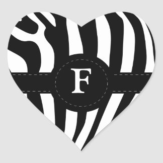 Zebra stripes monogram initial F custom Heart Sticker