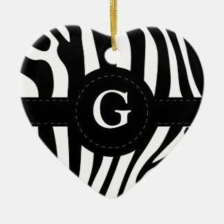 Zebra stripes monogram initial G custom Ceramic Ornament