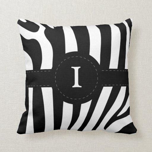 Zebra stripes monogram initial I custom pillow