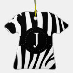 Zebra stripes monogram initial J custom Christmas Tree Ornaments