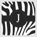 Zebra stripes monogram initial J custom Square Stickers