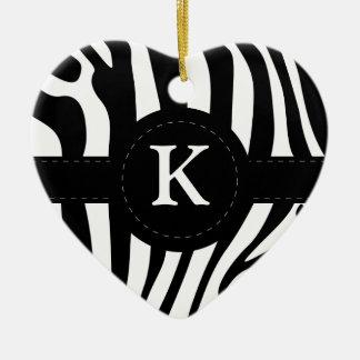 Zebra stripes monogram initial K custom Ceramic Ornament