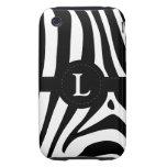 Zebra stripes monogram initial L custom, gift iPhone 3 Tough Case