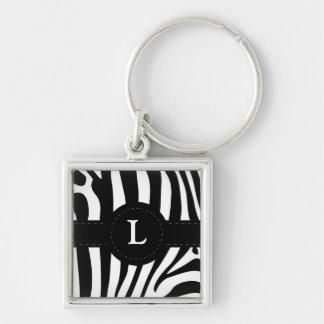 Zebra stripes monogram initial L custom Keychain