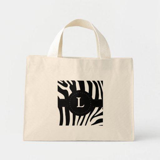 Zebra stripes monogram initial L custom Mini Tote Bag