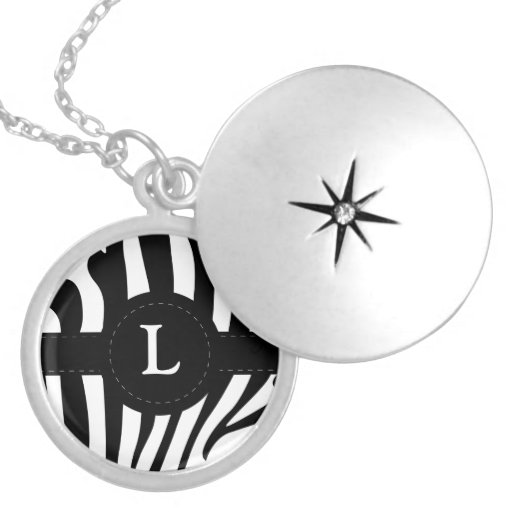 Zebra stripes monogram initial L custom Round Locket Necklace