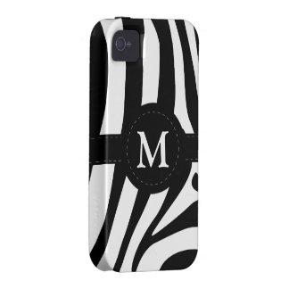 Zebra stripes monogram initial M custom, gift iPhone 4/4S Covers