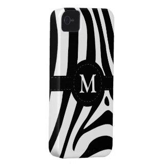 Zebra stripes monogram initial M custom, gift iPhone 4 Case