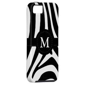 Zebra stripes monogram initial M custom, gift iPhone 5 Cases