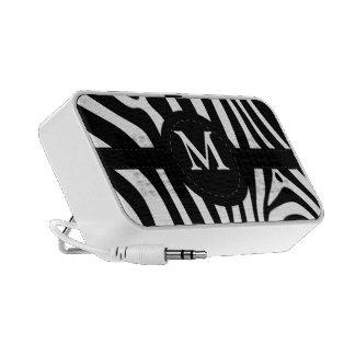 Zebra stripes monogram initial M custom gift Mini Speaker