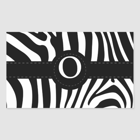 Zebra stripes monogram initial O custom Rectangular Sticker