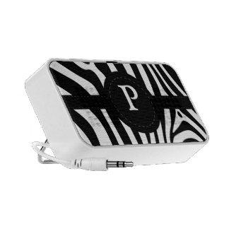 Zebra stripes monogram initial P custom gift Travelling Speakers
