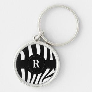 Zebra stripes monogram initial R custom Silver-Colored Round Keychain