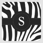 Zebra stripes monogram initial S custom Square Stickers