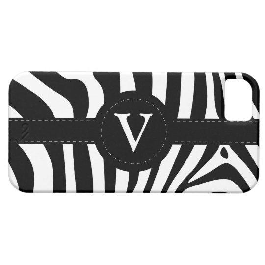 Zebra stripes monogram initial V custom, gift iPhone SE/5/5s Case