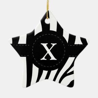 Zebra stripes monogram initial X custom Ceramic Ornament