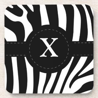 Zebra stripes monogram initial X custom Coaster