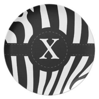 Zebra stripes monogram initial X custom, gift Dinner Plate