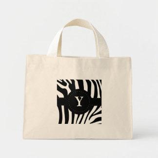 Zebra stripes monogram initial Y custom Mini Tote Bag