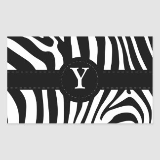 Zebra stripes monogram initial Y custom Rectangular Sticker