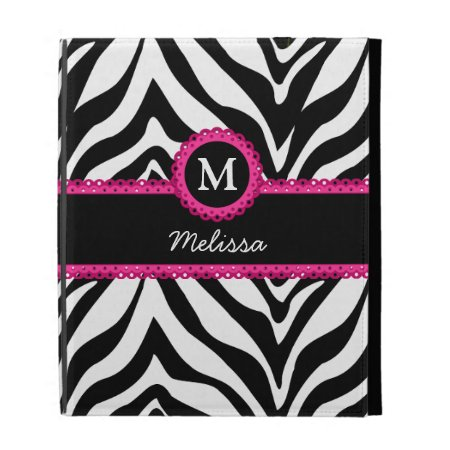 Zebra Stripes Monogram Name Ipad Folio Case