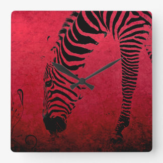 Zebra Stripes on Red Square Wall Clock