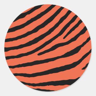 ZEBRA STRIPES: ORANGE and BLACK Classic Round Sticker