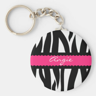 Zebra Stripes Pattern Personalized Name Keychain