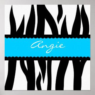 Zebra Stripes Pattern Personalized Name Poster