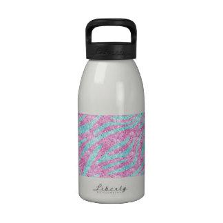Zebra Stripes Pattern Pink Teal Glitter photo Water Bottles