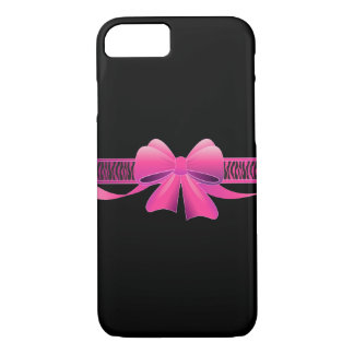 Zebra Stripes Pattern with Pink Bow iPhone 7 Case