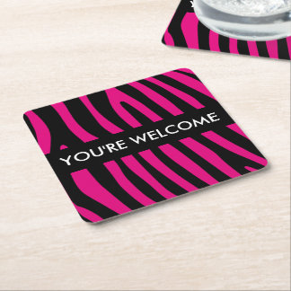 Zebra stripes pattern + your background & ideas square paper coaster