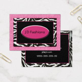 zebra stripes pink fur Chic Business Cards