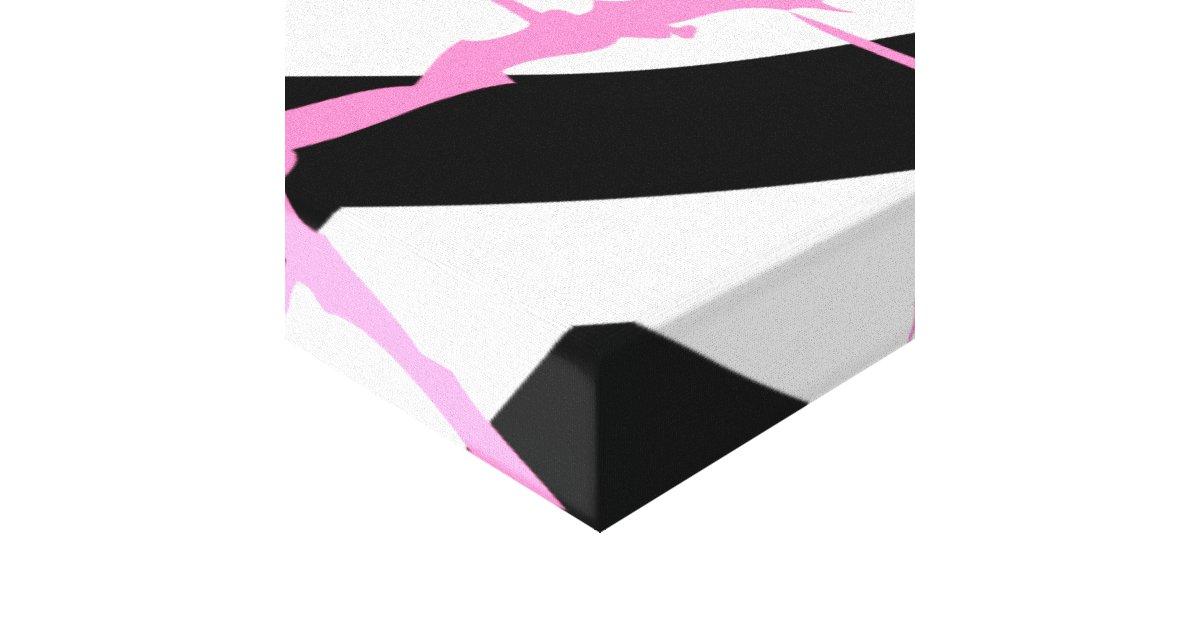 Zebra Stripes Pink Grunge Modern Canvas Art | Zazzle