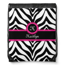 Zebra Stripes Pink Lace Monogram Name Drawstring Backpack