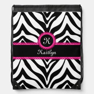 Zebra Stripes Pink Lace Monogram Name Drawstring Backpack