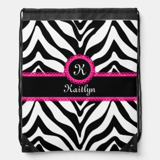 Zebra Stripes Pink Lace Monogram Name Drawstring Bags