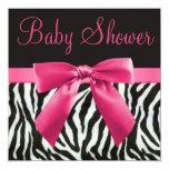 Zebra Stripes & Pink Printed Bow Baby Shower Invitation