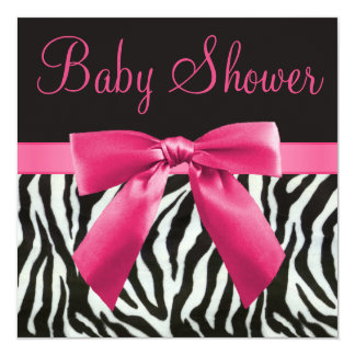 Zebra Stripes & Pink Printed Bow Baby Shower 5.25x5.25 Square Paper Invitation Card