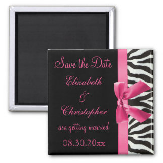 Zebra Stripes & Pink Printed Bow Save The Date 2 Inch Square Magnet