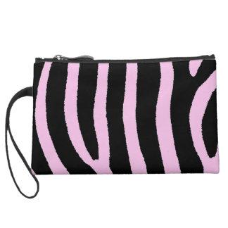 Zebra Stripes Pink Suede Wristlet