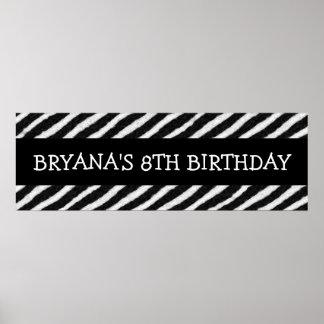 Zebra Stripes Print Custom Birthday Party Banner