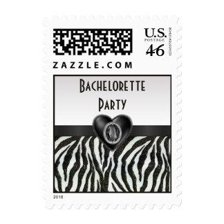 Zebra Stripes Printed Heart Jewel Bachelorette Postage