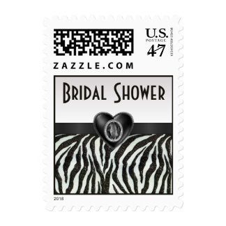 Zebra Stripes & Printed Heart Jewel Bridal Shower Postage