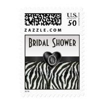 Zebra Stripes & Printed Heart Jewel Bridal Shower Postage