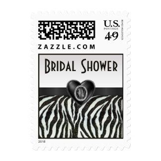 Zebra Stripes & Printed Heart Jewel Bridal Shower Postage Stamps