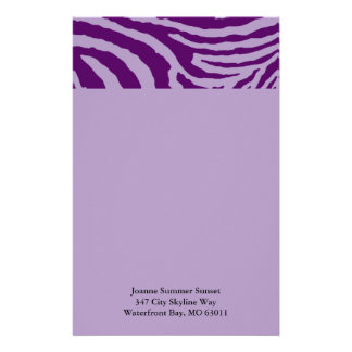 ZEBRA STRIPES: PURPLE and LAVENDER Stationery Paper