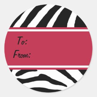 Zebra Stripes Red Gift Tag Sticker