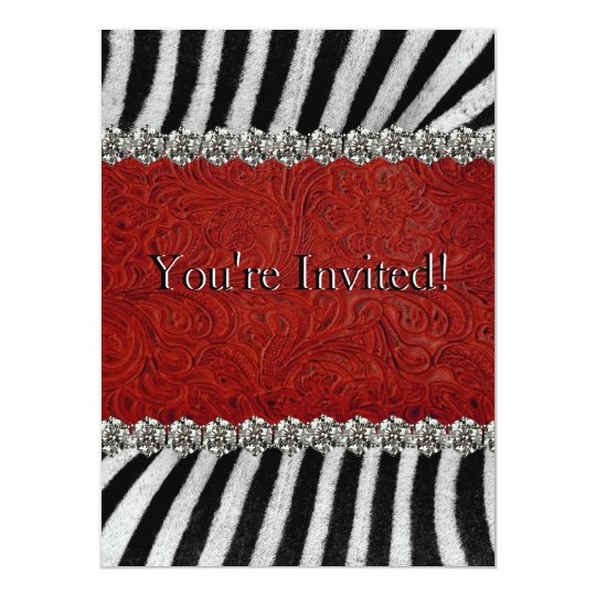 Zebra Stripes Red Leather Rhinestones (faux) Party Card